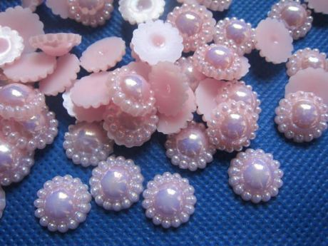 10 x 10MM PINK PLASTIC PEARL AFFECT FLAT BACK CENTRE PERFECT HEADBANDS HAIR BOWS